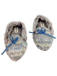 Toddler Girls Gray & Blue Shimmer Moccasin Style Slipper Faux Fur Loafers