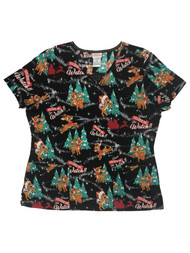 Rudolph The Red Nosed Reindeer Womens Black Christmas Holiday Scrubs Top