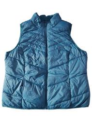 Womens Plus Corsair Blue Teal Lightweight Packable Puffy Zip Up Vest 2X