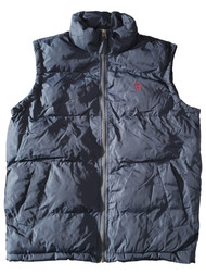 US Polo Womens Navy Blue Lightweight Puffy Zip Up Vest Small