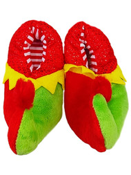 Toddler Boys Red & Green Pom Elf Christmas Holiday Slippers House Shoes