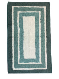 Sonoma Shades of Aqua Blue Border Stripe Plush Bath Rug, 20x32 Cotton Bath Mat
