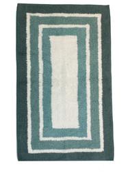 Sonoma Shades of Aqua Blue Border Stripe Plush Bath Rug, 17x24 Cotton Bath Mat