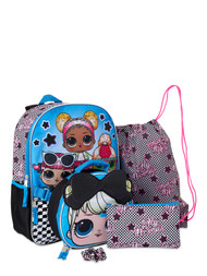 LOL Surprise Glam Squad Sequined Backpack & Lunch Box 5 Pc Set, School Bookbag