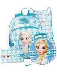 Disney Frozen Snow Queen Backpack and Lunch Box 5 Piece Set, Elsa School Bag