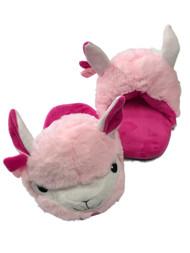 Girls Plush Pink Llama Slippers Scuffs House Shoes Slides