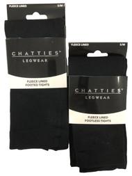 Chatties Legwear Womens 2 Pair Black Fleece Lined Footless Tights Leggings