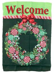 Welcome Peppermint Wreath Thanksgiving Decorative Garden Suede Flag 18x12.5