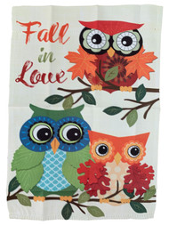 Fall in Love Owl Fall Thanksgiving Holiday Decorative Garden Suede Flag 18x12.5