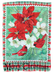 Christmas Floral Cardinal Holiday Decorative Garden Suede Flag 18x12.5 Inch