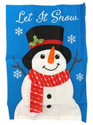 Blue Let It Snow Snowman Christmas Decorative Garden Applique Flag 18x12.5 Inch