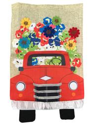 Red Truck Flowers Burlap Decorative Garden Flag 18in x 12.5in