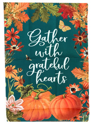 Grateful Hearts Fall Thanksgiving Holiday Decorative Garden Suede Flag 18x12.5