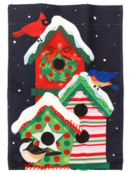 Christmas Holiday Birdhouse Cardinal Decorative Garden Linen Flag 18x12.5 Inch