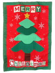 Merry Christmas Tree Quilt Holiday Garden Linen Flag 18x12.5 Inch