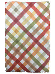Autumn Gingham Plaid Tablecloth, Red Green & Orange Shades 60x144 Oblong