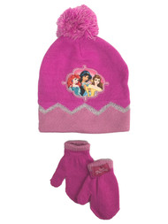 Disney Princess Toddler Girls Pink Pom Beanie & Mittens Stocking Cap Hat Set