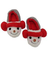 Womens Fuzzy White & Gray Earmuff Snowman Slippers Christmas House Shoes