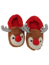 Women's Fuzzy Red & Brown Glitter Reindeer Slippers Christmas House Shoes