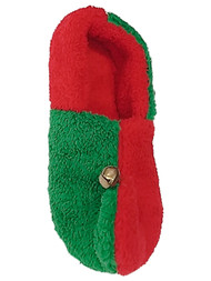Womens Fuzzy Red & Green Checkered Elf Bell Slippers Christmas House Shoes