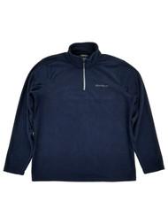 Eddie Bauer Mens Dark Blue Fleece Quarter-Zip Pullover Jacket