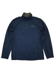 Eddie Bauer Mens Navy Heather Radiator Fleece Quarter-Zip Pullover Jacket