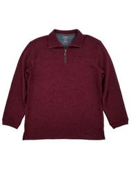 Haggar Mens Burgundy Heather Fleece Quarter-Zip Pullover Sweater Jacket