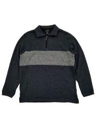 Haggar Mens Black & Gray Fleece Quarter-Zip Pullover Sweater Jacket