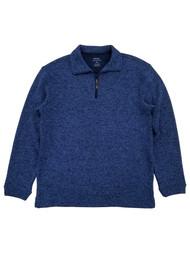 Haggar Mens Royal Blue Heather Fleece Quarter-Zip Pullover Sweater Jacket