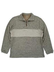 Haggar Mens Beige Fleece Quarter-Zip Pullover Sweater Jacket