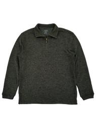 Haggar Mens Dark Olive Fleece Quarter-Zip Pullover Sweater Jacket