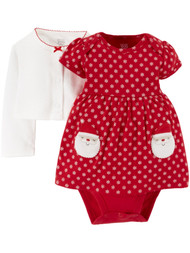 Carter Infant Girls Red Santa Claus Snowflake Christmas Dress Holiday Set 3M