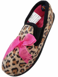 Toddler Girls Brown Leopard Animal Print Slippers House Shoes 5/6