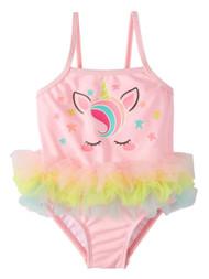 Infant Girls Pink & Rainbow Unicorn One Piece Tutu Swimming Bathing Suit 24m