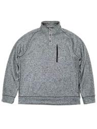 Mens Speckled Gray 1/4 Snap Mockneck Fleece Sweatshirt Jacket
