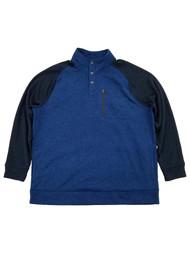 Mens Big & Tall Blue & Navy 1/4 Snap Mockneck Fleece Sweatshirt Jacket