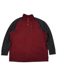 Mens Big & Tall Burgundy Black 1/4 Snap Mockneck Fleece Sweatshirt Jacket