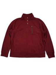 Mens Speckled Burgundy 1/4 Snap Mockneck Fleece Sweatshirt Jacket XXL