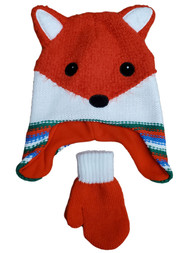 Toddler Boys Red & White Fox Beanie Trapper Hat & Mittens Set 2T-5T