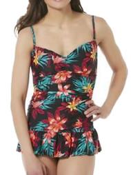Tropical Escape Womens Black Floral Hawaiian Print 1 Piece Swim Suit Size 8