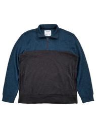Mens Blue & Gray Brushed Fleece Quarter-Zip Pullover Sweatshirt Jacket