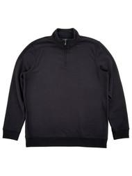 Mens Black Fleece Quarter-Zip Pullover Sweatshirt Jacket