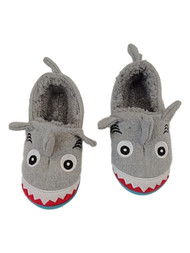 Toddler & Boys Gray Plush Shark Slippers Great White House Shoes Loafers M 7-8