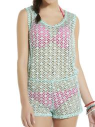 Junior Womens Aqua Green Romper Swim Suit Cover Up XL