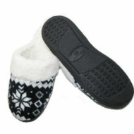 Isotoner Womens Black  Snowflake Clog Slippers Clogs Medium 7.5-8