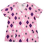 Simply Basic Womens Pink Diamond Medical Smock Nurse Scrubs Shirt Top Medium