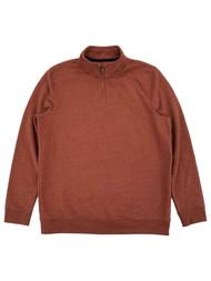 Mens Rust Orange Fleece Quarter-Zip Pullover Sweatshirt Jacket