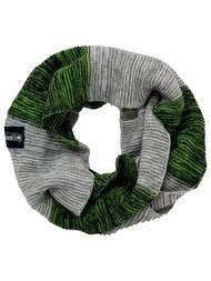 Seahawks Logo Womens Green Gray & Blue Knit Stripe Loop Infinity Scarf One Size