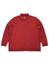 Mens Red Fleece Quarter-Zip Pullover Polo Sweatshirt Jacket