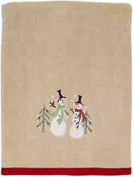 Avanti Linens Tall Snowmen Bath Towel Bath Towel, Tan